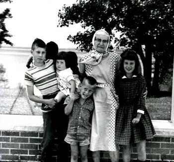 The Johnson Kids with Grandma Stella Johnson. Left to right, Dean, Jane, Ward, Stella and Carol | Mary Johnson Photo