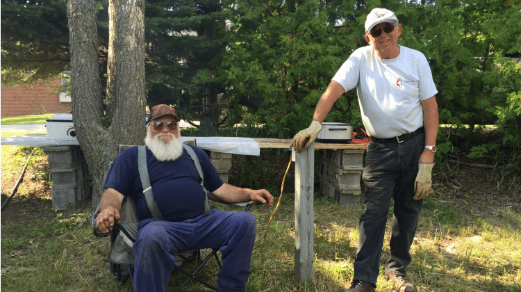 Jack Lardie and Keith Long, Old Mission Peninsula United Methodist Church Annual Chicken BBQ | Jane Boursaw Photo