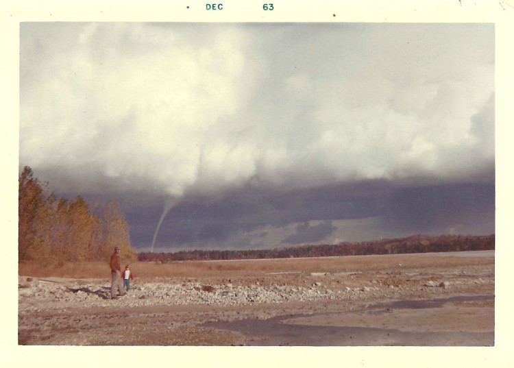 """Walter Johnson and Jane Johnson, Dec. 1963; Written on the back in Annette Evans' handwriting: """"Evolution of a Water Spout, #1, Fall of '63""""   Annette Evans Photo (I think)"""