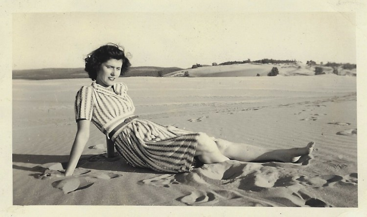 Mary Johnson, pinup girl, at the Sleeping Bear Dunes National Lakeshore in the 1940s