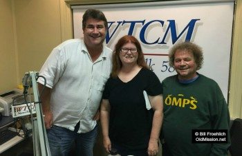 """Tim and Jane Boursaw with """"Afternoon Drive"""" host Norm Jones, Aug. 2015   Bill Froehlich Photo"""