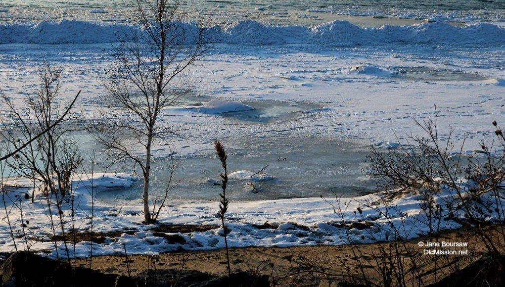 Icy West Bay by Mission Point Lighthouse | Jane Boursaw Photo