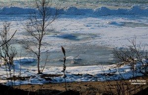 Icy West Bay by Mission Point Lighthouse   Jane Boursaw Photo