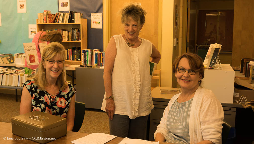 old mission gazette, book sale, summer book sale, peninsula community library, old mission peninsula, old mission michigan, old mission, michigan, Beth Nussdorfer, Charmaine Dressler, Karen DeCook