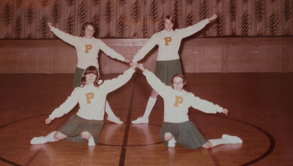 old mission peninsula school, omps, cheerleaders, 1960s, old mission peninsula, old mission, old mission michigan, peninsula township, old mission history, old mission gazette