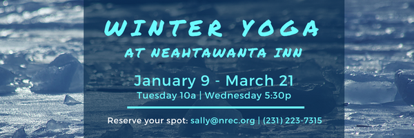 winter yoga, neahtawanta inn, sally van vleck, old mission peninsula, old mission, old mission michigan, peninsula township, old mission gazette