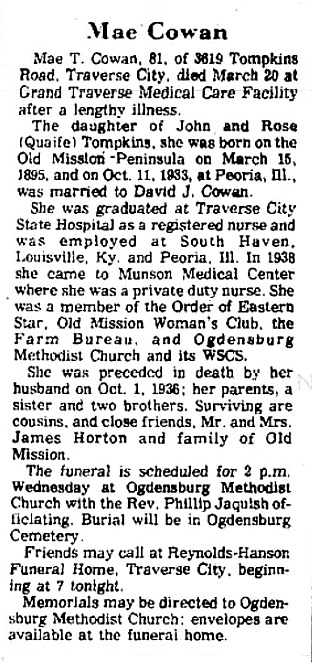 old mission history, mae cowan, old mission peninsula, tompkins road, old mission gazette, old mission, old mission michigan, peninsula township, dogs of old mission