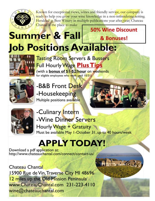 chateau chantal, old mission jobs, old mission peninsula jobs, old mission peninsula, old mission gazette, old mission news, old mission, old mission michigan, peninsula township, traverse city jobs