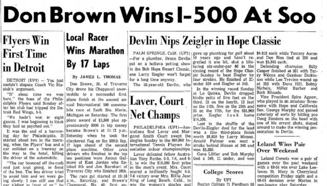 don brown, I-500, snowmobile race, sault ste. marie, old mission peninsula, old mission history, old mission michigan, old mission gazette, old mission news, chaparral snowmobile