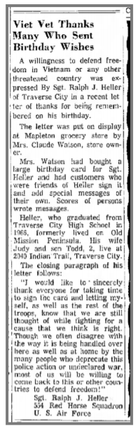 ralph heller, viet nam, traverse city record-eagle, pete lardie, gwen watson, claude watson, watson's store, mapleton michigan, old mission peninsula, old mission, old mission michigan, old mission history, old mission gazette, peninsula township