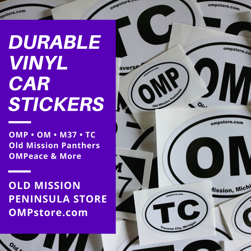 old mission peninsula store, vinyl car stickers, old mission car stickers, traverse city car stickers, old mission peninsula car stickers, M37 car stickers, old mission gazette, peninsula township, old mission panthers, old mission peninsula school car stickers