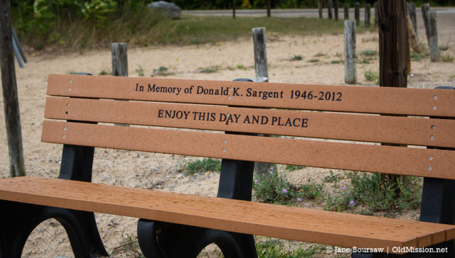donald k sargent, memorial bench, haserot beach, old mission gazette, old mission peninsula, old mission, old mission michigan, peninsula township, connie sargent, monarch butterflies