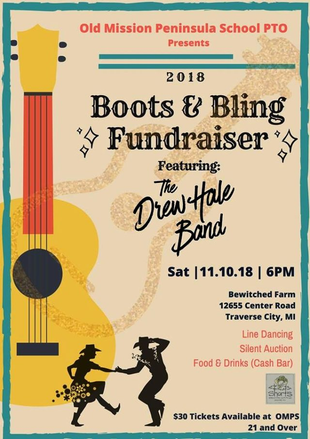 boots and bling fundraiser, omps, old mission peninsula school, old mission gazette, old mission peninsula, drew hale band, old mission news, bewitched farm, julia phelps