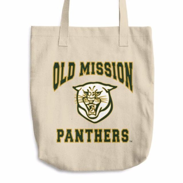 old mission panthers tote bag, ompstore, old mission peninsula store, tim boursaw, old mission panthers, old mission peninsula school, omps, old mission gazette, old mission peninsula, old mission products, old mission tshirts, old mission apparel, old mission, old mission michigan, peninsula township