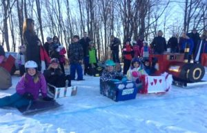 Cardboard Sled Race at Old Mission Peninsula School