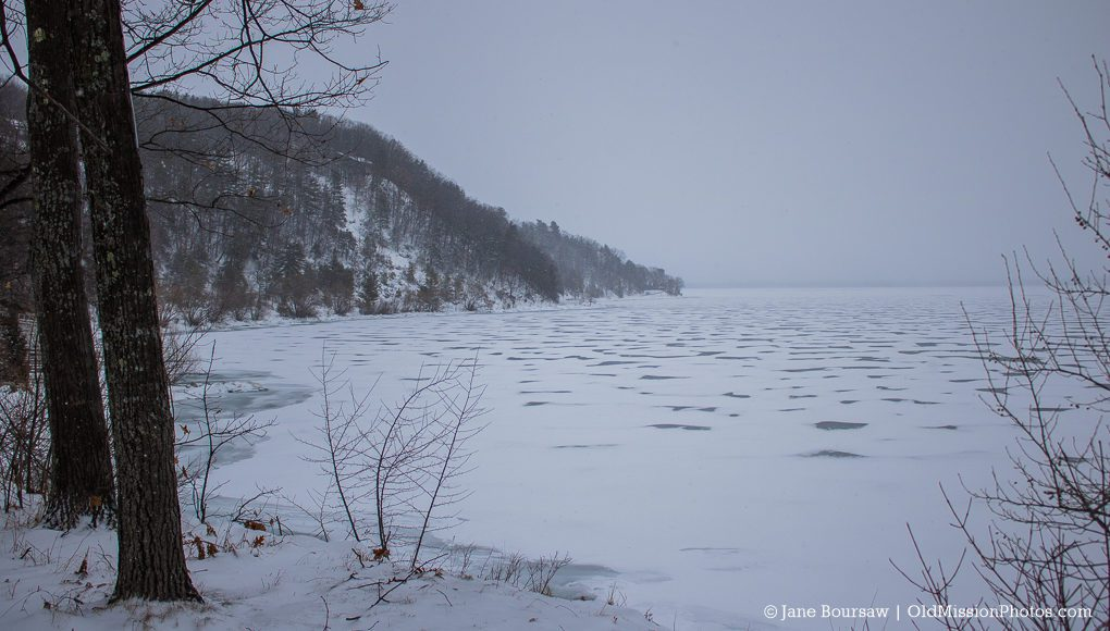 Photo of frozen East Bay at The Bluffs on the Old Mission Peninsula
