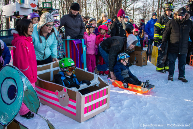 Annual Cardboard Sled Race at Old Mission Peninsula School