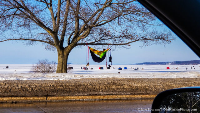 Ice Fishing off Clinch Park Beach in Traverse City Michigan