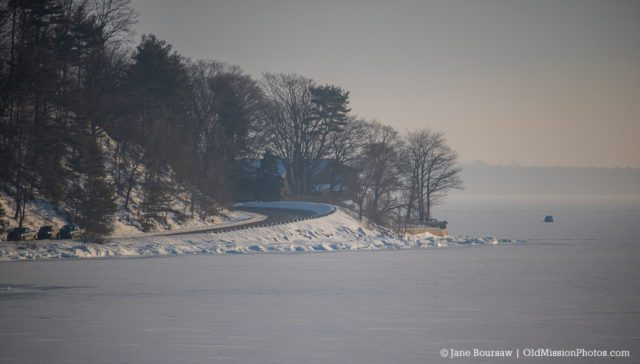 "Ice Fishing in East Bay off ""The Bluffs"" on the Old Mission Peninsula"