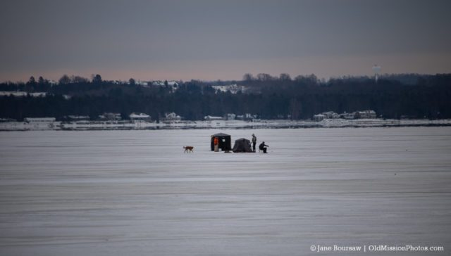 Ice Fishing off East Bay Boat Launch on the Old Mission Peninsula