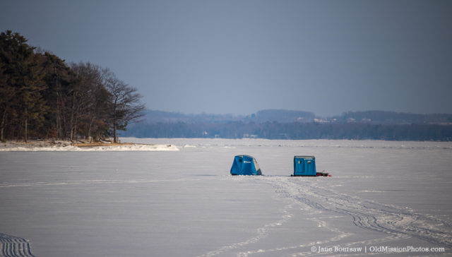 Ice Fishing in Old Mission Harbor