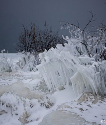 Ice on Mission Point Lighthouse Beach on the Old Mission Peninsula