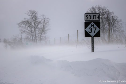 Snowy M37 Sign on the Old Mission Peninsula