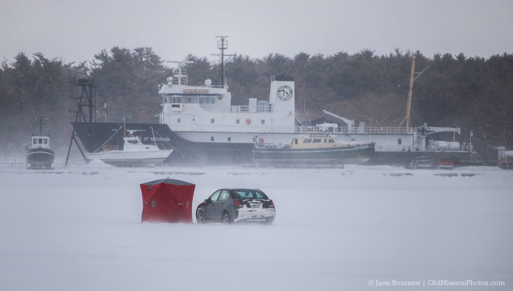Car on West Bay Ice in Traverse City