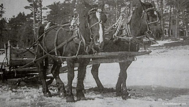 """1943-1945, Cutting Ice in Old Mission Harbor: Chum Reay's """"Block Team"""" King and Prince"""