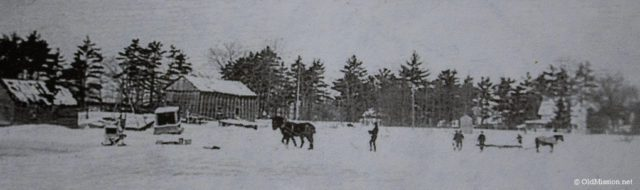 1943-1945, Old Mission Harbor: Chum Reay and neighbors cut and move blocks of ice
