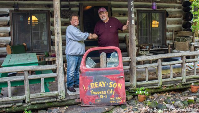 Old Mission, MI: Tim Boursaw transfers Chum Reay's Truck Door to Marty Reay