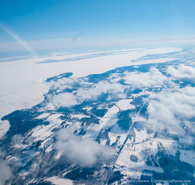 Aerial Photo of Frozen Bays from Leelanau County by Ward Johnson