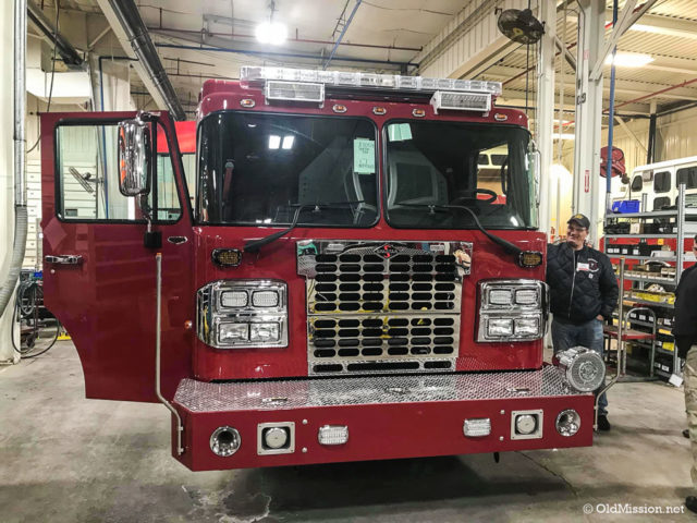 Fire Chief Fred Gilstorff stands next to a new fire truck, currently being built for Peninsula Fire Department with expected delivery in mid-May