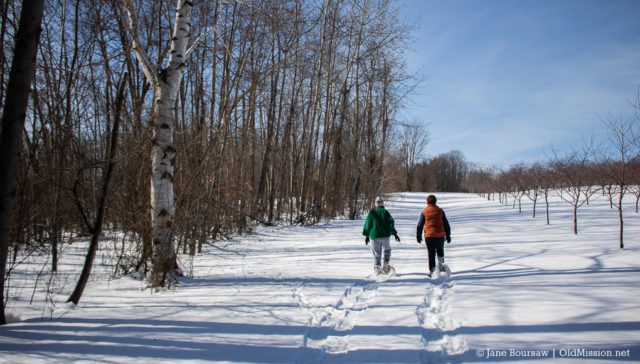 Snowshoeing With Pat Sharpnack and Tammy Krentz on the Old Mission Peninsula for TC Trimdown