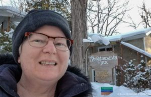 Jane Boursaw going to yoga class at Neahtawanta Inn on the Old Mission Peninsula during the TC Trimdown