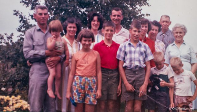The Johnson and Wingert Families. From left, Walter Johnson, Jane Johnson Boursaw , Mary Johnson, Carolyn Johnson Lewis, Jackie Wingert, Jim Wingert, John Wingert, Dean Johnson, Pat Wingert, Jane Wingert, Earl McKesson, Mary Louise McKesson, and the boys in the front, Bud Wingert and Ward Johnson