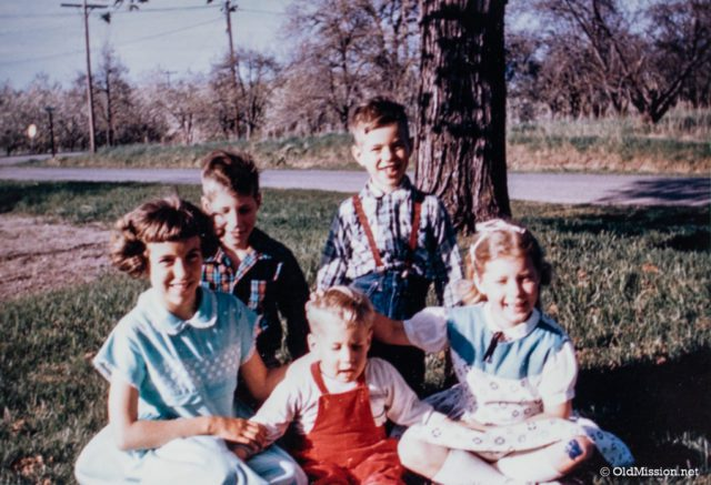 Siblings and cousins at Grandma Stella Johnson's house on the corner of Peninsula Drive and Kroupa Road. From left, Phyllis Johnson, Dean Johnson, Ward Johnson, Steve Johnson, Carolyn Johnson Lewis | Mary Johnson Photo