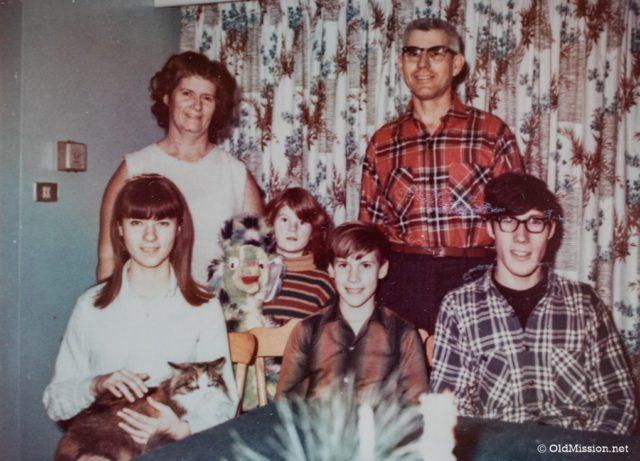 The Johnson family, circa 1960s. From left, Carolyn Johnson Lewis (holding Calico), Mary Johnson, Jane Johnson (holding my new Christmas stuffed animal), Ward Johnson, Walter Johnson, Dean Johnson