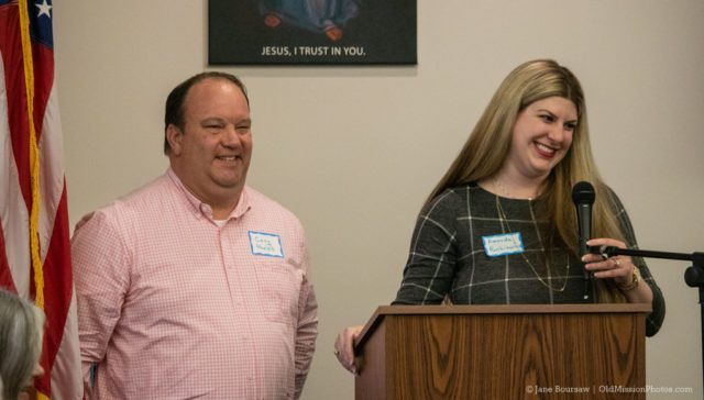 April 18, 2019: Corey Phelps and Amanda Renkiewicz accept $6000 grant for OMPS from the Old Mission Women's Club