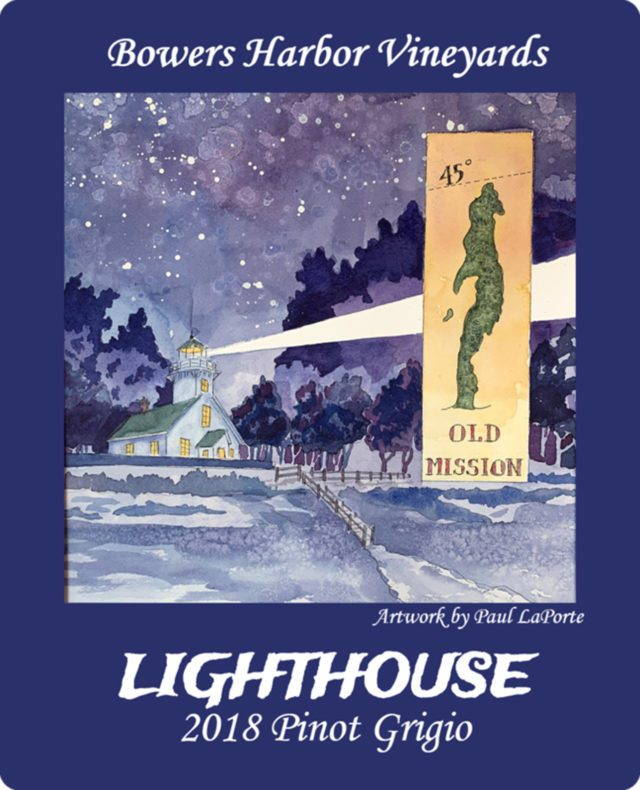 Mission Point Lighthouse Wine Label Artwork by Paul LaPorte, Old Mission Peninsula
