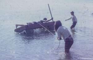 Dean, Ward and Carol Johnson on a home-made raft in Old Mission, 1966   Mary Johnson Photo