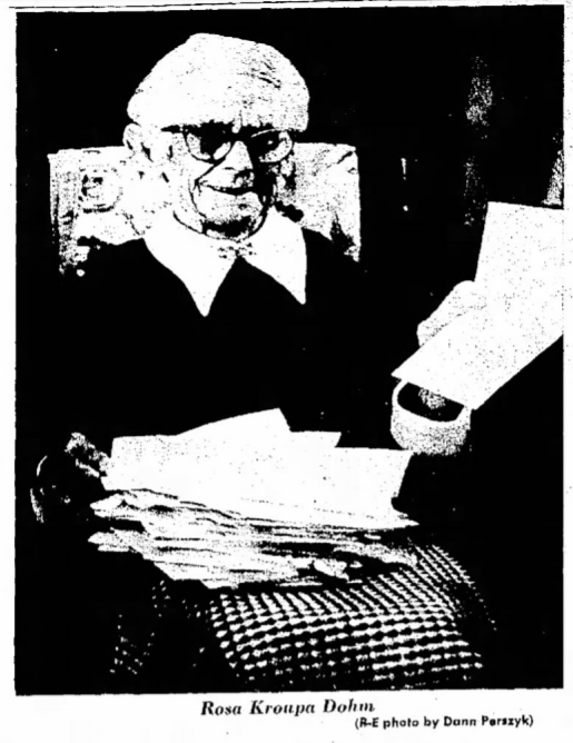 Rosa Dohm, Traverse City Record-Eagle story dated May 25 1974