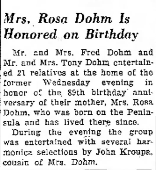 Rosa Dohm, Traverse City Record-Eagle story dated May 25 1963