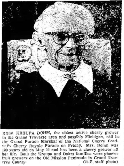 Rosa Dohm, Grand Marshal, National Cherry Festival 1974