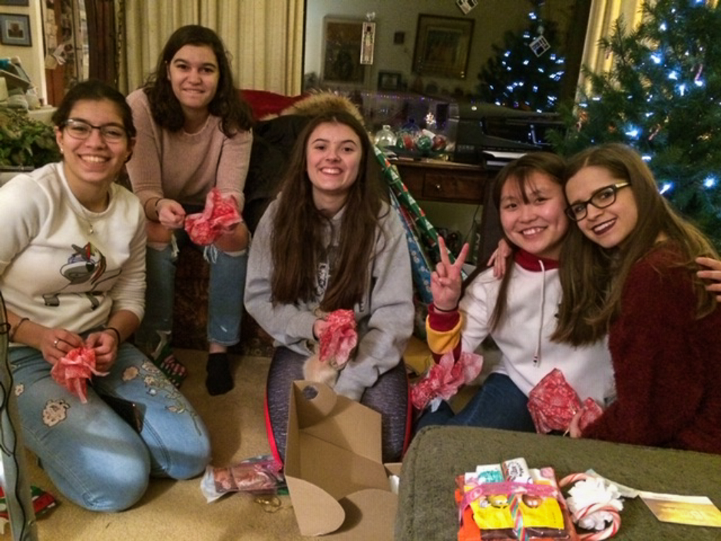 Exchange students from Arab Israel, Italy, Spain, Kyrghzstan and Ukraine at a Christmas party/group sleepover at Olave Russell's house in 2017; all the girls lived with host families on the OMP | Olave Russell Photo