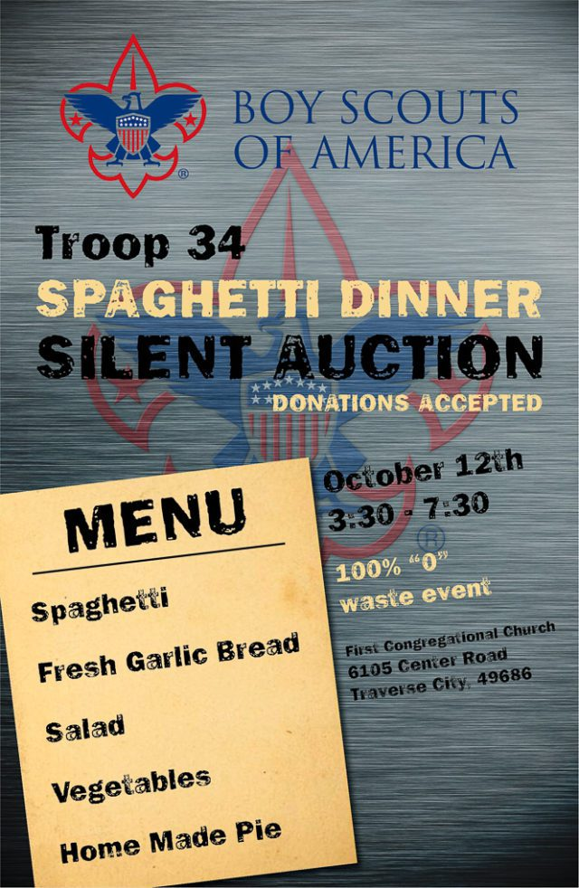 Boy Scout Troop 34 Spaghetti Dinner at First Congregational Church on the Old Mission Peninsula