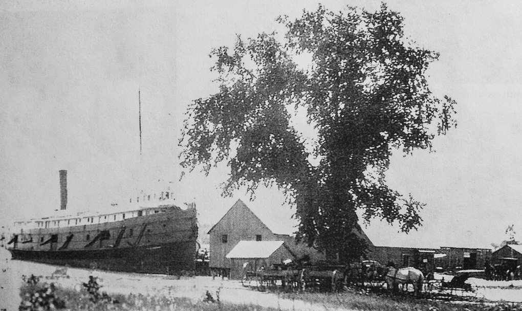 Winery Lawsuit - Summer Residents - Ship docked at Old Mission Harbor, 1800s. In the shade of the tree are horses, wagons and carriages all waiting for their fare.