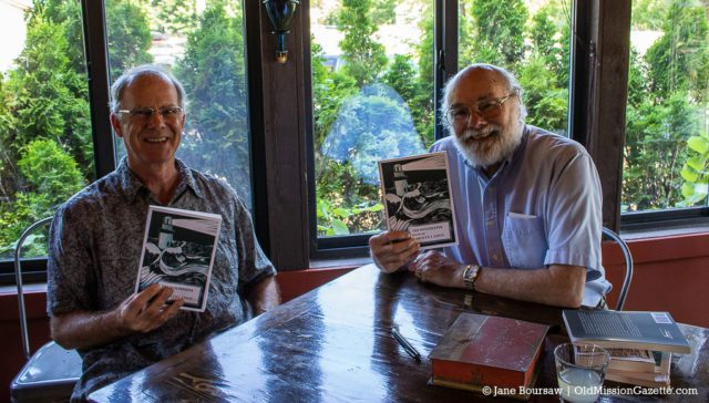 Steve Lewis and Bert Courson at the launch for Carolyn Lewis' book The Wolfkeeper | Jane Boursaw Photo