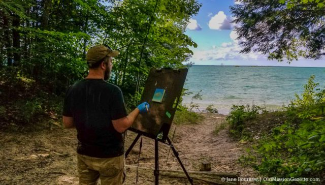 Conor Fagan paints at Lighthouse Park | Jane Boursaw Photo
