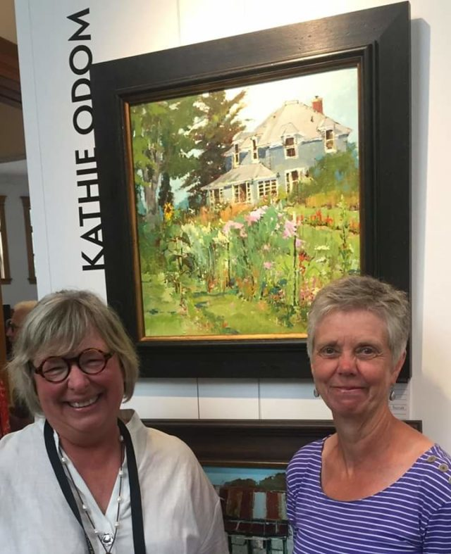 Plein Air artist Kathie Odom with Old Mission Flowers' Ginny Coulter | Coulter Photo